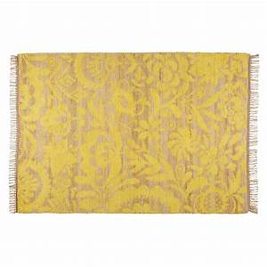 tapis en jute et coton jaune moutarde 140x200cm lukila With tapis couleur moutarde