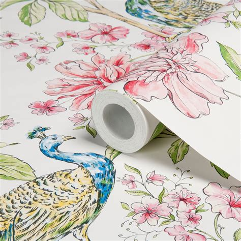 hibiscus white wallpaper departments diy  bq