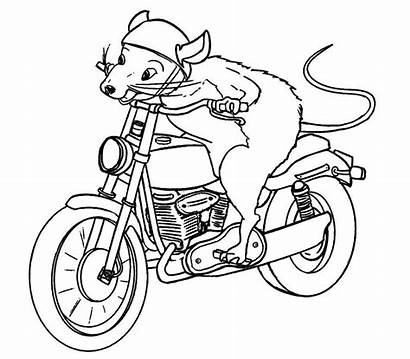 Motorcycle Mouse Riding Coloring Pages Printable Sheets