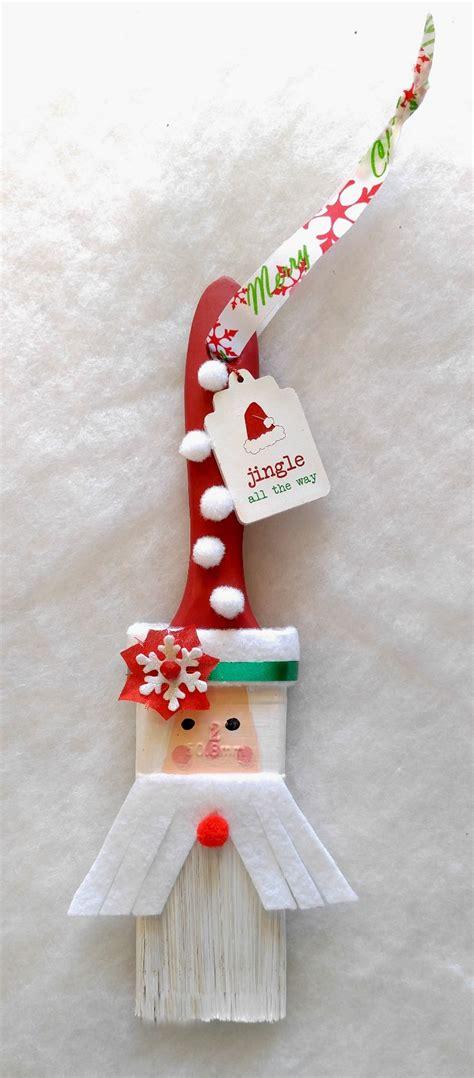 santa paint brush ornament diy santa claus paintbrush