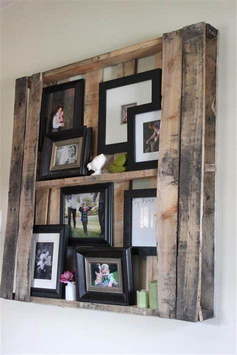 Diy Pallet Wall Shelves  Picture Frame Display Rack 99