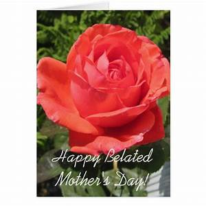 Happy Belated Mother's Day Orange Rose card   Zazzle