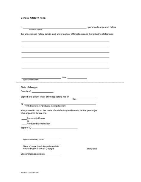 general affidavit template general affidavit form with notary notary near me