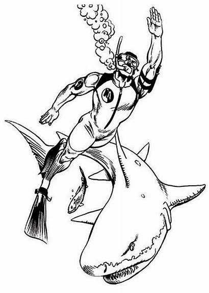 Coloring Diving Sharks Pages Action Sheet