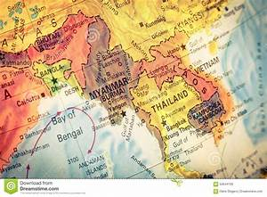Map Of Thailand And Laos. Close-up Image Stock Photo ...