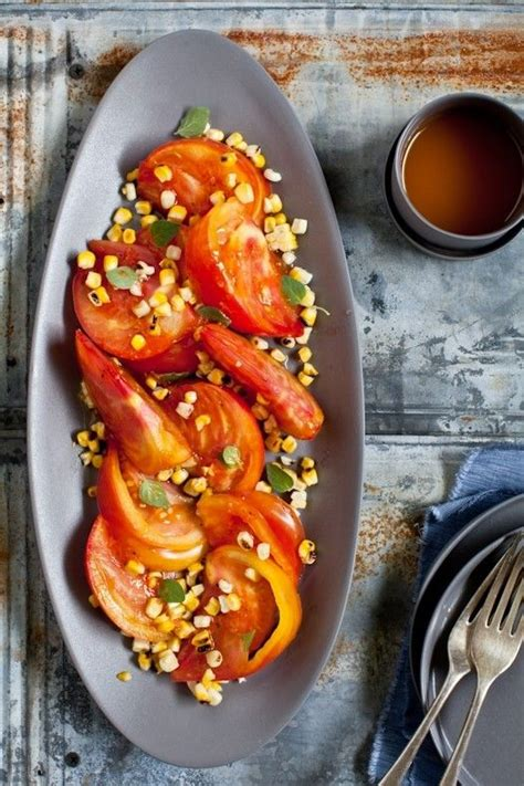 Grilled Stuffed Tomatoes with Corn Salad