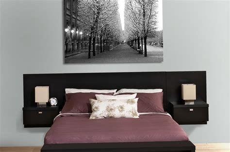 Black Lengthy Wall Mount King Size Headboard With Built In