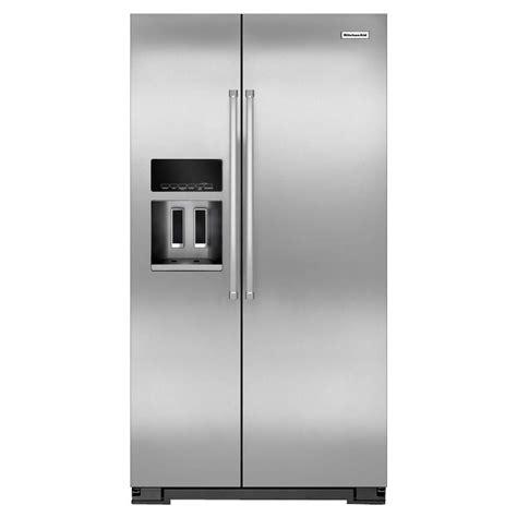 Kitchenaid 36 In W 199 Cu Ft Side By Side Refrigerator