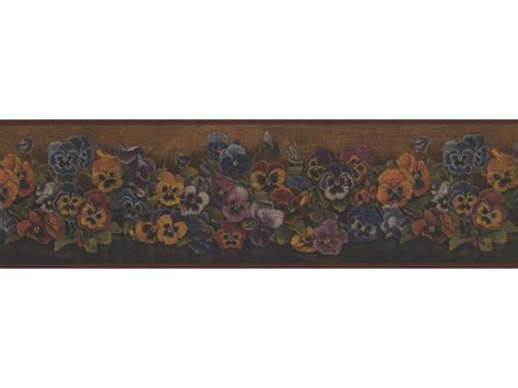 Wallpaper Border by Rust Floral Pansies Wallpaper Border