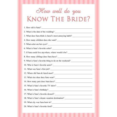 personalized printable       bride game