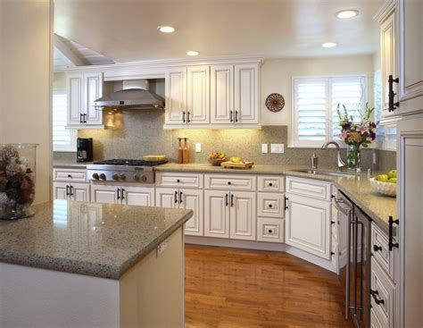 Kitchens Ideas With White Cabinets l shaped country kitchen white color scheme
