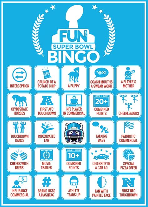 super bowl bingo sheets printable fun blog
