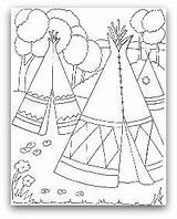 Teepee Coloring Indian Tipi Pages Tent Wigwam Drawing Indians Printable Native American Tepee Pee Tee Cherokee Sheets Template Colouring Homes sketch template