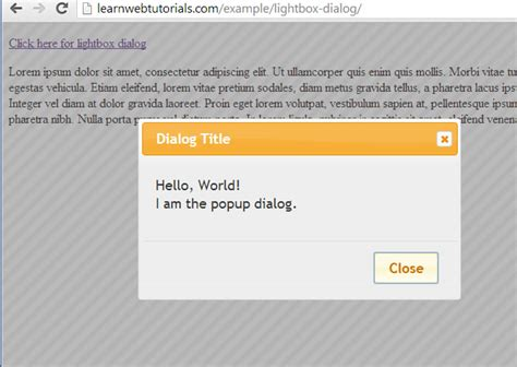 Creating A Lightbox Popup Dialog With Jquery Ui