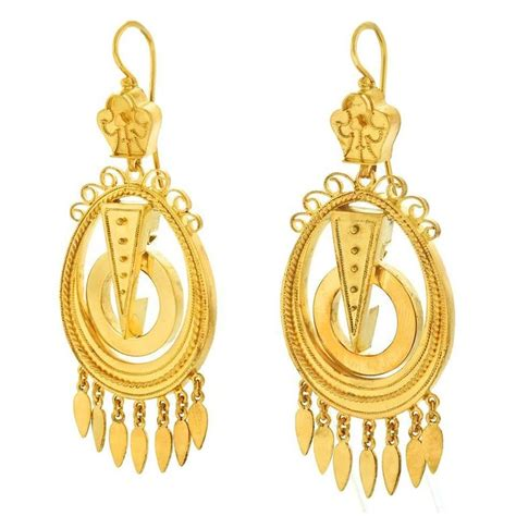 antique gold chandelier earrings for sale at 1stdibs