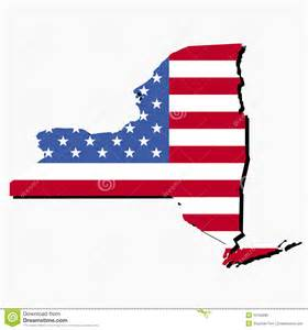 New York State Map with Flag