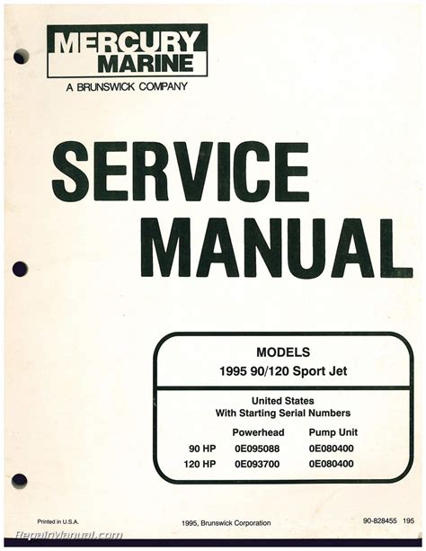 Boat Service Manuals by Used 1995 Mercury 90 120 Sport Jet Engine Service Manual