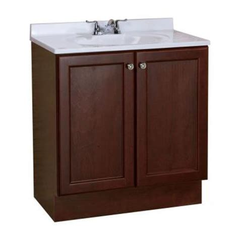 Glacier Bay Bathroom Vanity With Top by Glacier Bay All In One 30 In W Vanity Combo In Chestnut