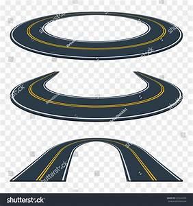 Set Curved Asphalt Road Perspective Highway Stock Vector ...