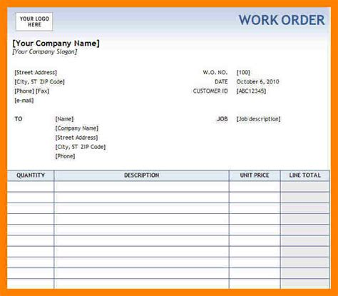 Free Printable Work Order Template Service Work Order Template Hunecompany