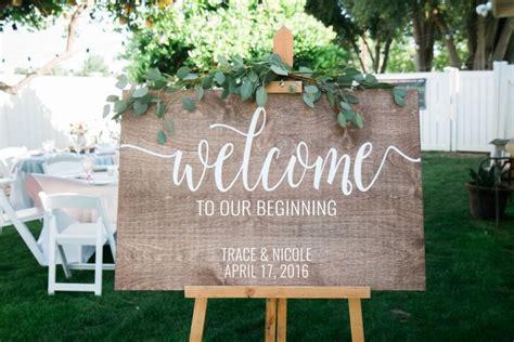 beginning wedding  sign wooden