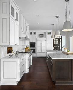 White kitchen with dark brown island and white marble for What kind of paint to use on kitchen cabinets for large wall panel art
