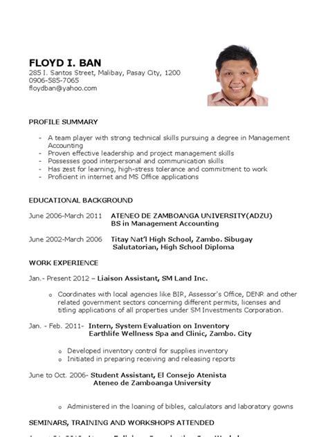 sample resume  fresh graduates  education