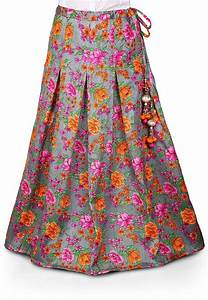 Printed Bhagalpuri Art Silk Skirt in Grey  BNJ136