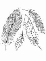 Coloring Pages Feather Printable Indian Feathers Colorful Disimpan Dari Designs sketch template