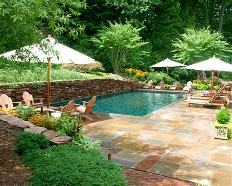 backyard swimming stunning backyard swimming pools with nice 4 umbrella and sunbed ideas popular home interior