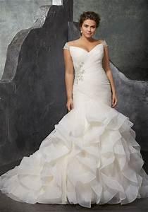 Mermaid off the shoulder organza ruffle plus size wedding for Plus size off the shoulder wedding dress
