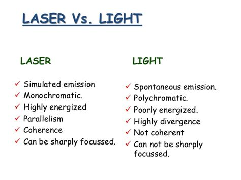 difference between l and light basics in laser