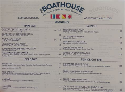 Boathouse Menu by Downtown Disney Boathouse Orlando Review Construction