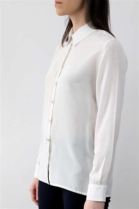 vetement femme pour bureau chemisier chic femme en soie lavée blanche made in
