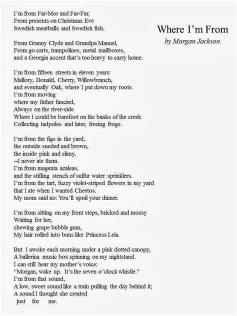 where i m from poem template lavilla 8th grade language arts where i m from exles rubric