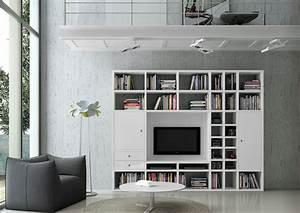 Bücherwand Mit Tv : wohnwand b cherwand lack wei hochglanz tv fach ~ Michelbontemps.com Haus und Dekorationen