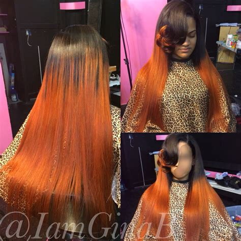 colored sew in sew in weave colored orange styled by ginab hair