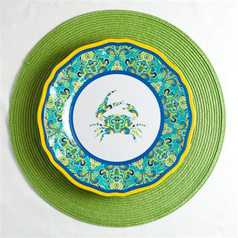 crab paisley dinnerware yacht dinner melamine plate collection tap
