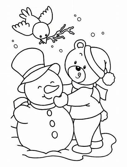 Coloring Snowman Winter Bear Making