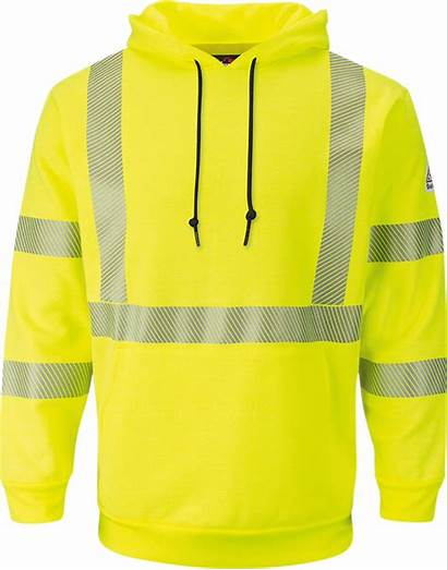 Hi Visibility Hooded Sweatshirt Pullover Bulwark Fleece