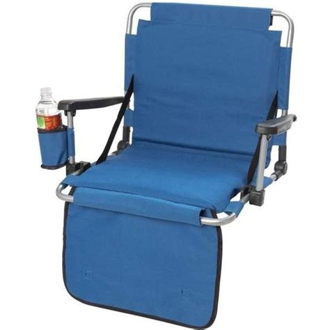 ultra stadium portable cushion chair w cup holder blue
