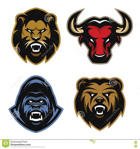 animals logos lion bull gorilla bear stock vector