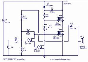 U0026gt Mosfet Amplifier Circuit  U2013 10 Watts