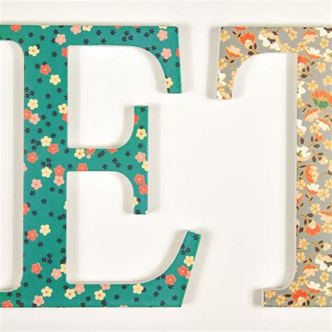 navy coral teal floral letters  wooden letters company