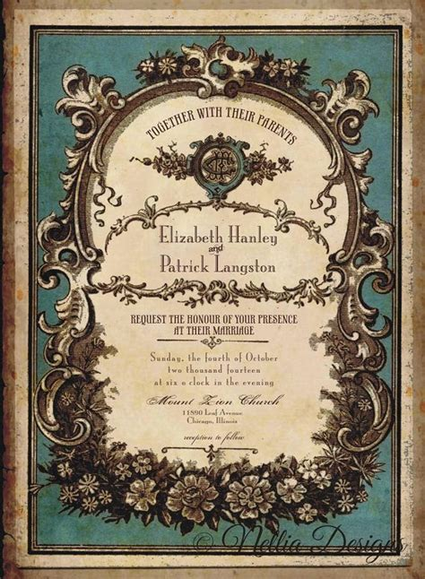 Vintage Perfume Label Wedding Invitations with RSVP by