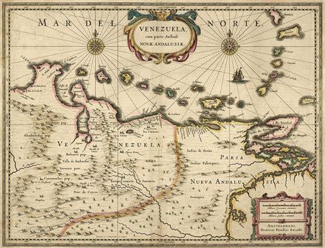antique map  venezuela  hendrik hondius  drawing