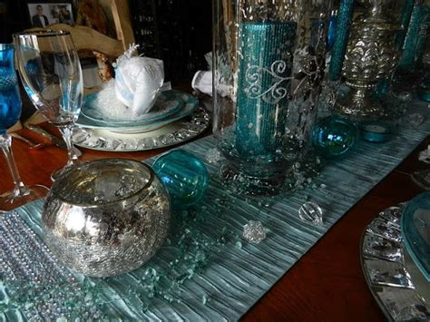 Turquoise (teal) And Silver Christmas Table Centerpiece
