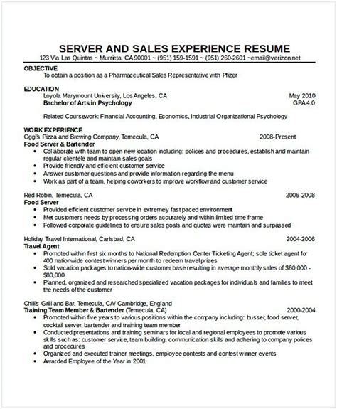 Waitress Resume by Cocktail Waitress Resume Hotel And Restaurant Management
