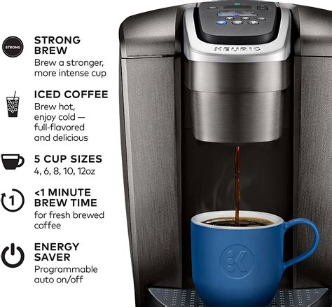 Elegant look and stylish brushed slate, silver or gold finish. Keurig K-Elite Coffee Maker, Single Serve K-Cup Pod Coffee Brewer, With Iced Coffee Capability ...