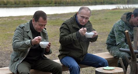 Russian President Putin Medvedev Spend Weekend With
